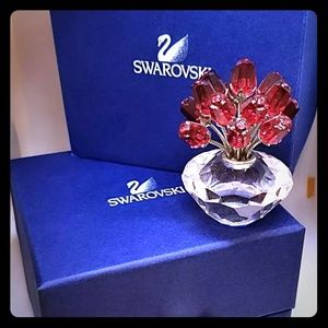 Vintage Swarovski Red Rose Vase Figurine